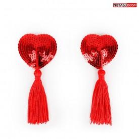 Красные текстильные пестисы в форме сердечек с кисточками